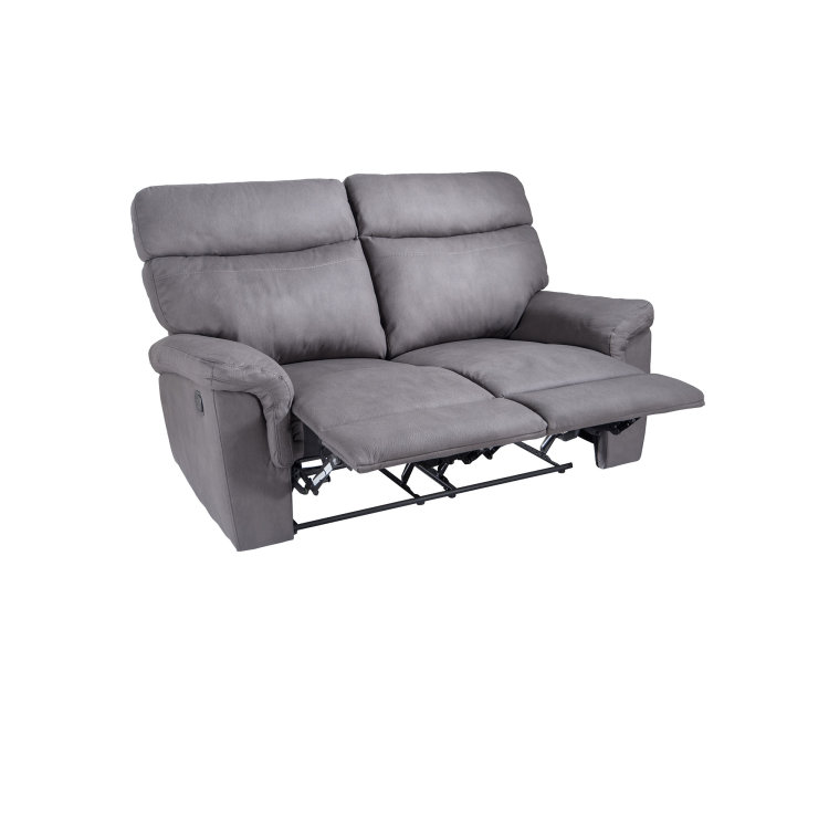 udobna siva relax garnitura dvosjed s dignutim naslonom za noge