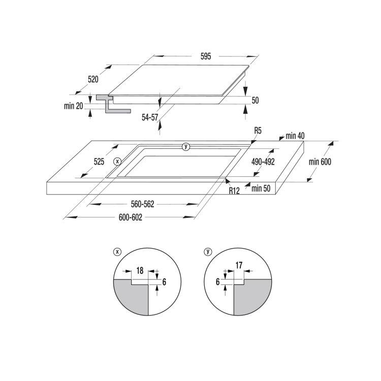 ploča Gorenje ECT641BSC skica za ugradnju s mjerama