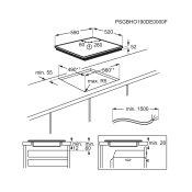 ploča Electrolux EHH624OISK skica za ugradnju s mjerama