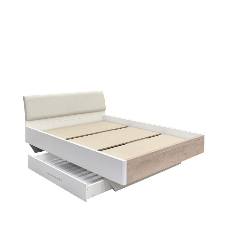 krevet Kaliopa sizvučenom ladicom slikan na bijeloj pozadini