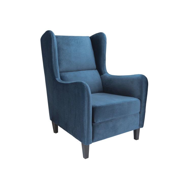 plava fotelja Lola slikana s lijeve strane
