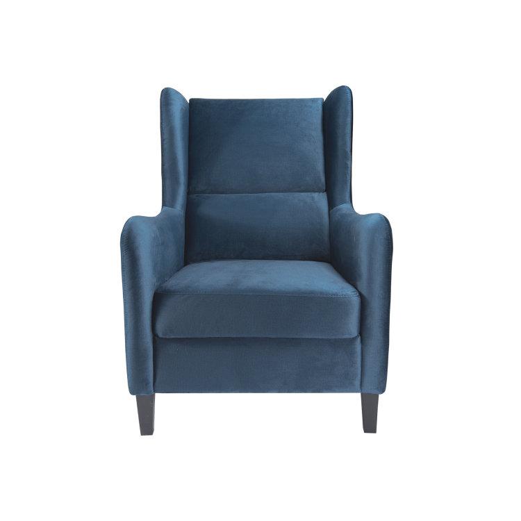 plava fotelja Lola slikana s prednje strane