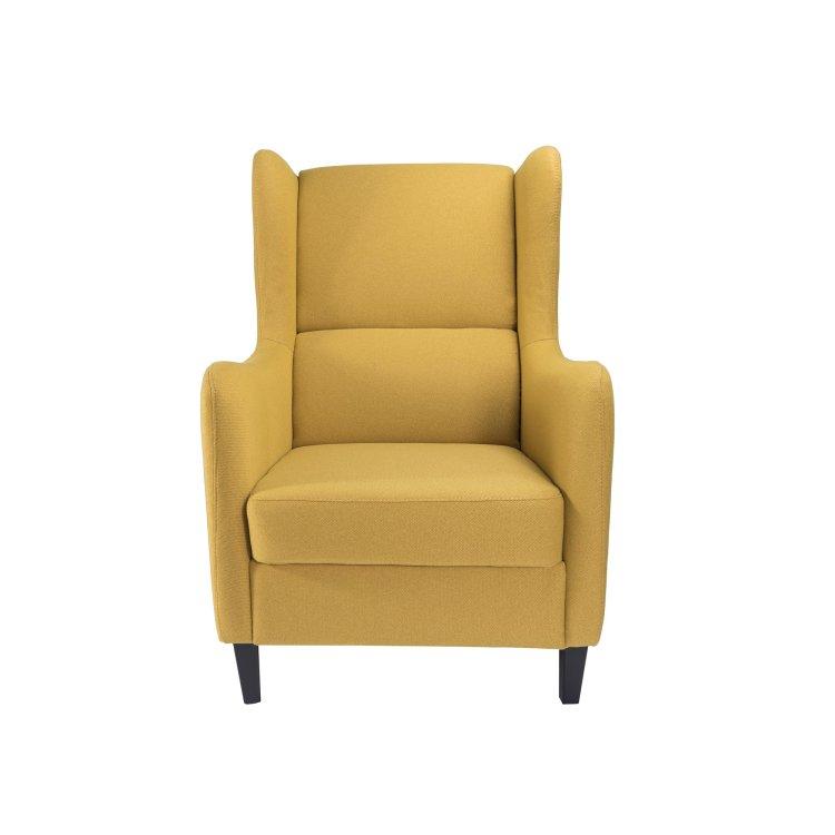 žuta fotelja Lola slikana s prednje strane