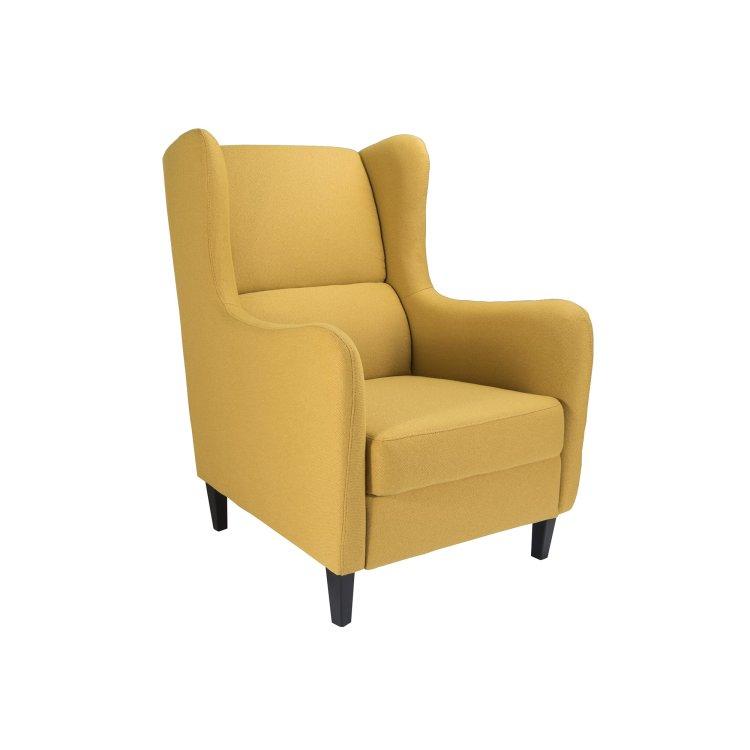žuta fotelja Lola slikana s lijeve strane