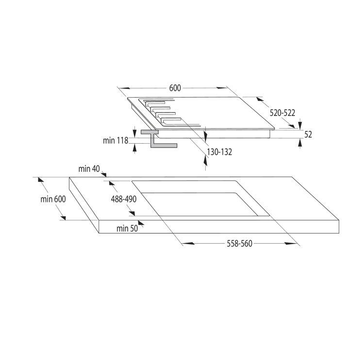 ploča Gorenje GE680X skica za ugradnju s mjerama