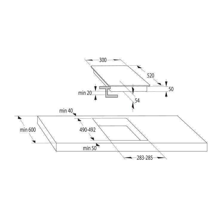 indukcijska domino ploča sa upravljanjem na dodir dimenzije