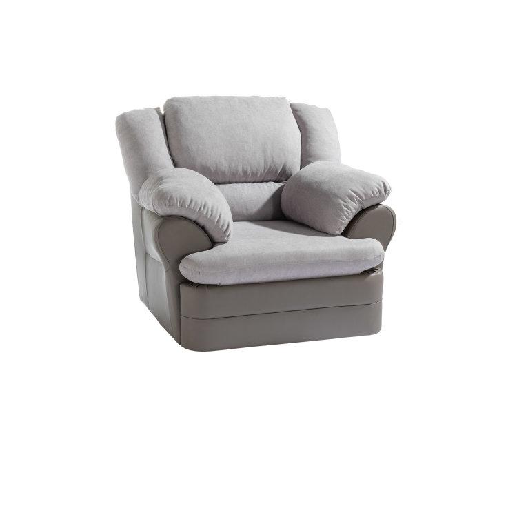 kvalitetna siva fotelja King slikana s lijeve strane
