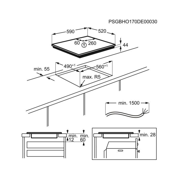 ploča Electrolux LIR60430 skica za ugradnju s mjerama