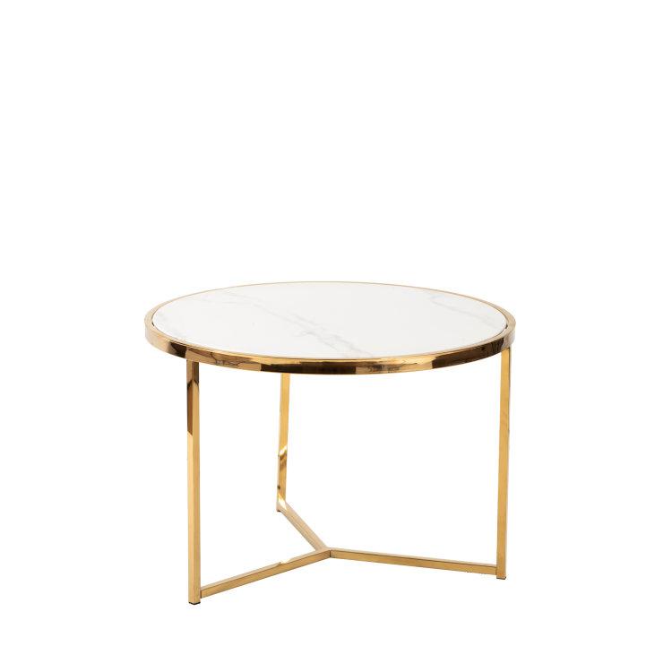 okrugli stolić oro s mramornom pločom i zlatnim nogama