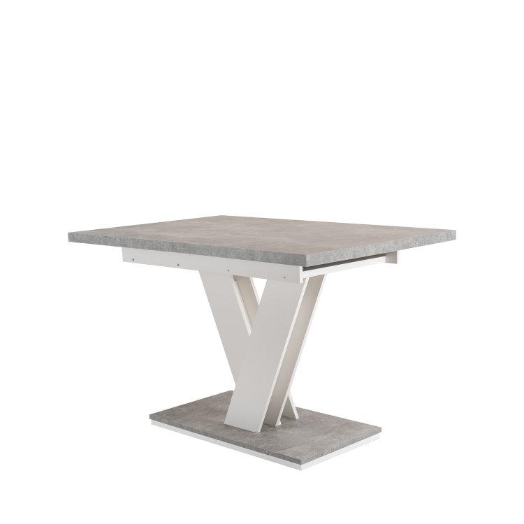 stol masiv u kombinaciji boja bijele i betona s postoljem