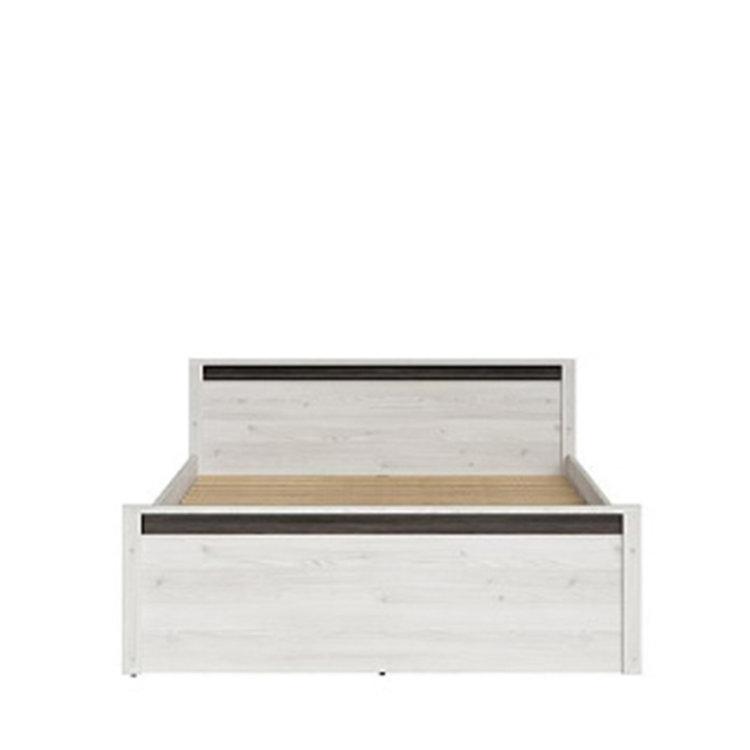 krevet Salins 160 bijele boje s crnim detaljima slikan s prednje strane na bijeloj pozadini