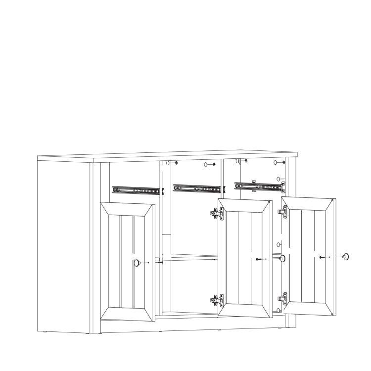 komoda Prowansja 3V3L skica s otvorenim vratima
