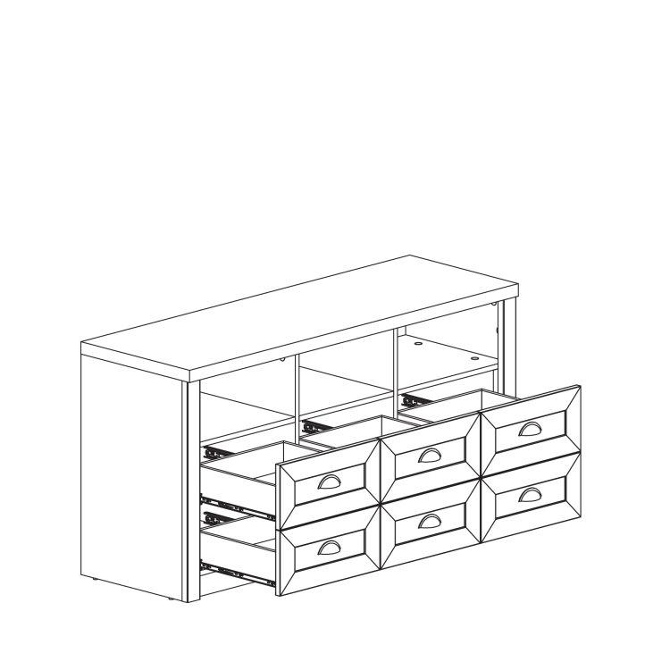 bijela komoda Prowansja skica s izvučenim ladicama