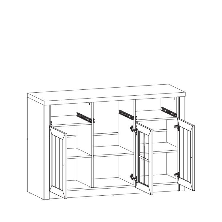 komoda sa staklom Prowansja 3V3L skica s otvorenim vratima