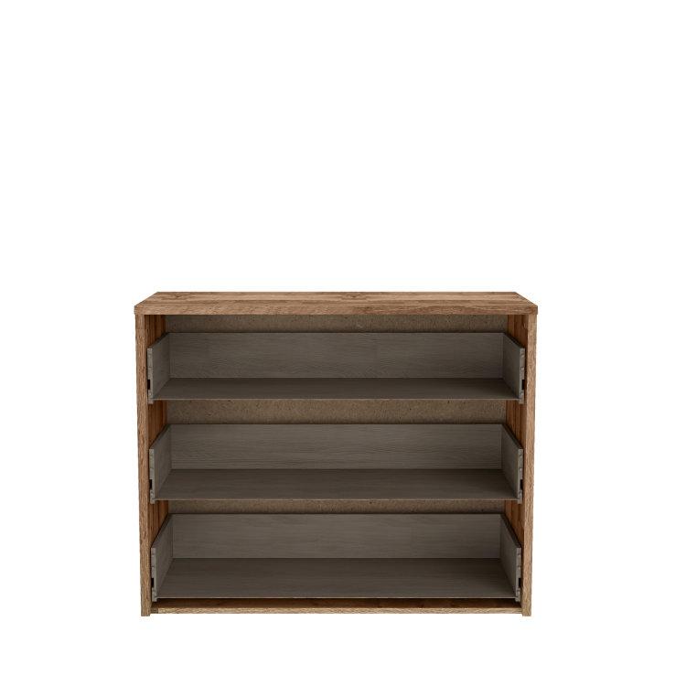 moderno dizajnirana komoda Modern Way jednostavnih linija s izvađenim ladicama slikana s prednje strane na bijeloj pozadini