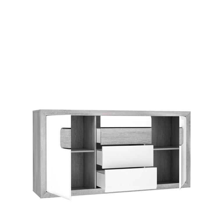 moderna komoda Tomasso 2V3L suvremenog dizajna s otvorenim vratima i ladicama slikana s lijeve strane na bijeloj pozadini