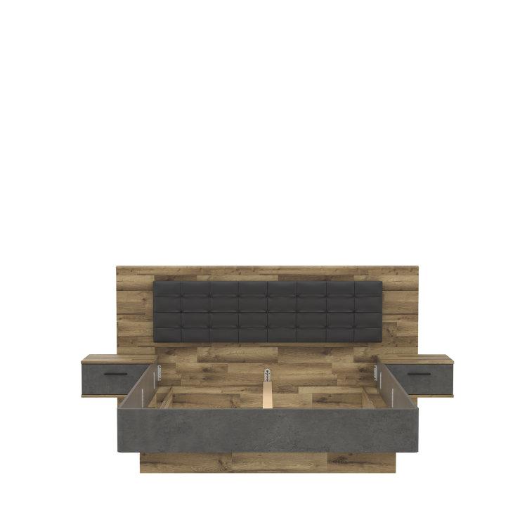 krevet Ricciano 180 s drvenim uzglavljem i okvirom umjesto nogica slikan s prednje strane na bijeloj pozadini