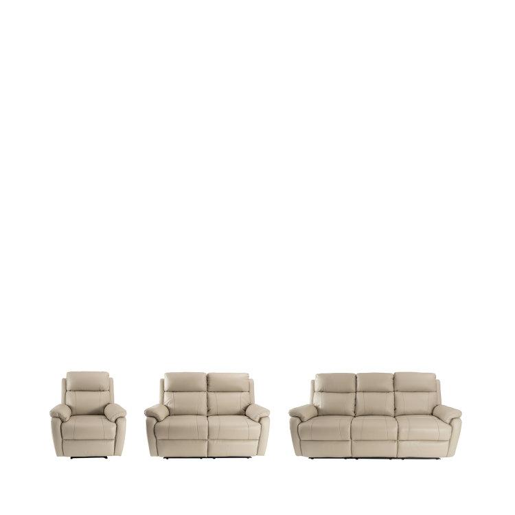 kožna fotelja pješčane boje u kompletu s dvosjedom i trosjedom