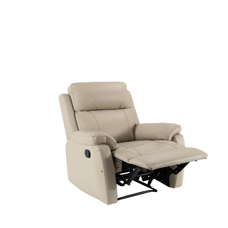 kožna fotelja pješčane boje s podignutim naslonom za noge slikana s lijeve strane