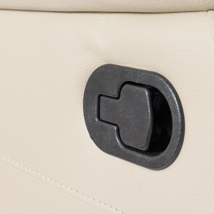 kožna fotelja pješčane boje s detaljem ručkice za podešavanje naslona za noge