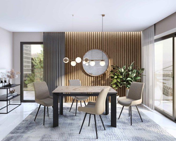 stol gabriel u boji sivog mramora s crnim nogama u ambijentu doma