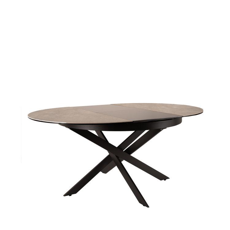 okrugli stol stellar u boji sivog mramora s crnim nogama