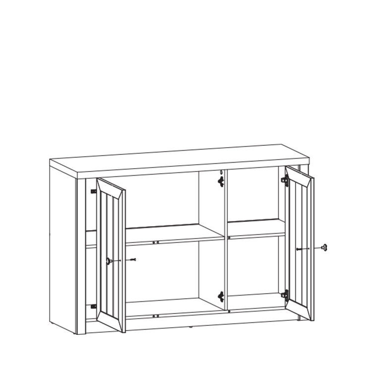 komoda Prowansja 3V skica s otvorenim vratima