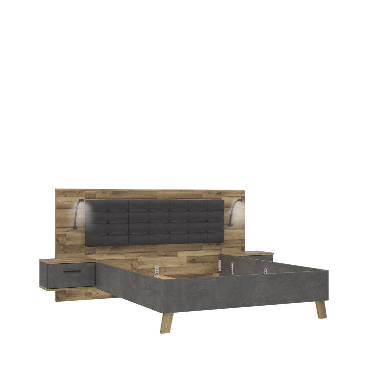 krevet Ricciano 160 s drvenim uzglavljem slikan s lijeve strane na bijeloj pozadini