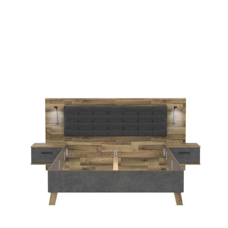 krevet Ricciano 160 s drvenim uzglavljem slikan s prednje strane na bijeloj pozadini