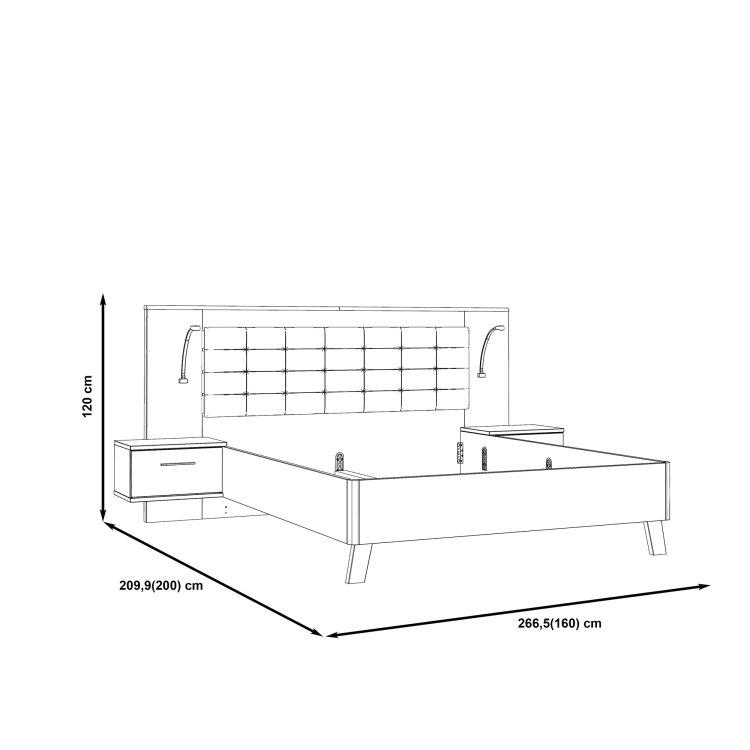 krevet Ricciano 160 s drvenim uzglavljem skica s mjerama