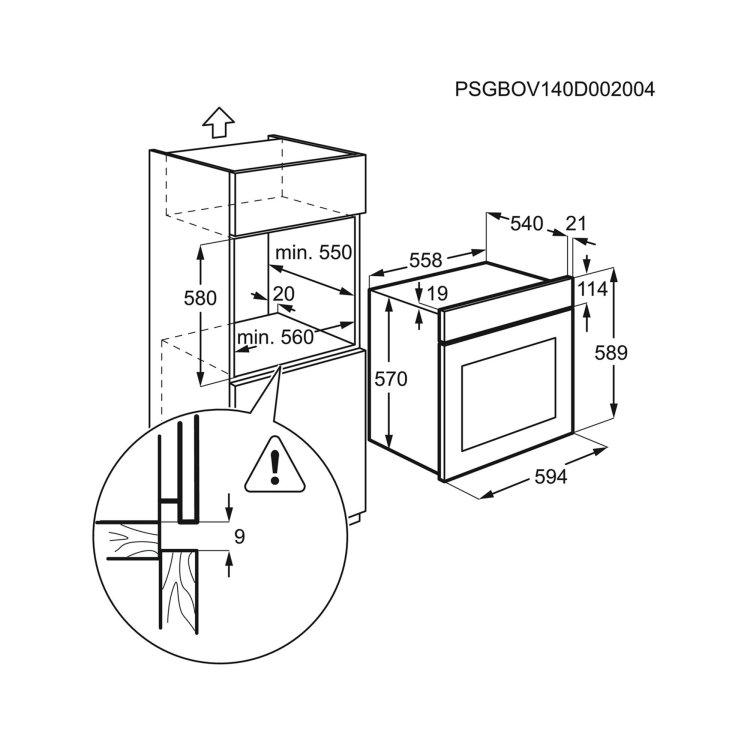 pećnica Electrolux EZB2400AOX skica s mjerama za ugradnju